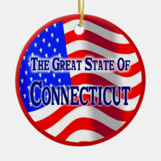 Connecticut Double-Sided Ceramic Round Christmas Ornament
