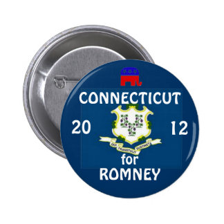 Connecticut para Romney 2012 Pin Redondo De 2 Pulgadas
