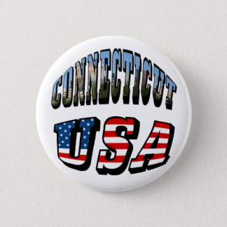Connecticut Picture and USA Flag Text Button