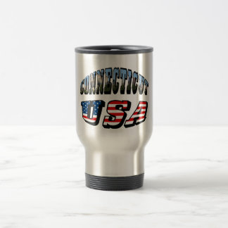 Connecticut Picture and USA Flag Text Coffee Mug