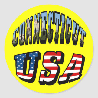 Connecticut Picture and USA Flag Text Round Stickers
