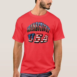 Connecticut Picture and USA Flag Text T-Shirt