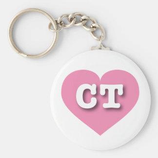 Connecticut pink heart - Big Love Basic Round Button Keychain