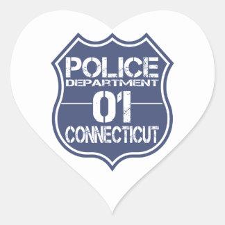 Connecticut Police Department Shield 01 Heart Sticker