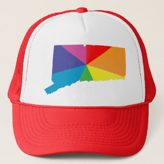 connecticut pride. angled. trucker hat