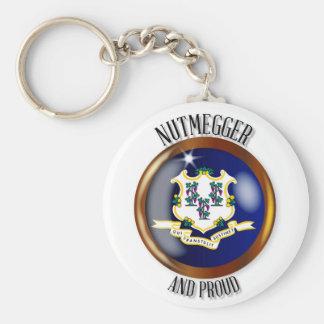 Connecticut Proud Flag Button Keychain