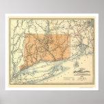 Connecticut Railroad Map 1893 Print