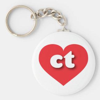 Connecticut red heart - mini love basic round button keychain