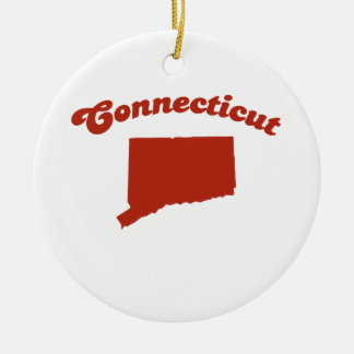 CONNECTICUT Red State Double-Sided Ceramic Round Christmas Ornament