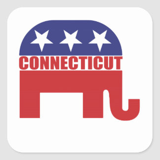 Connecticut Republican Elephant Square Sticker