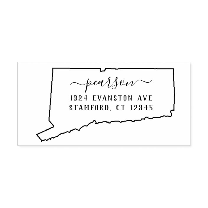 Love From Connecticut Return Address Stamp in Self-Inking or Wood Made in ConnecticutOption  CS-10331 Custom Connecticut State Pride Stamp