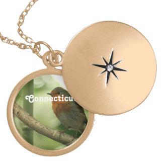 Connecticut Robin Round Locket Necklace