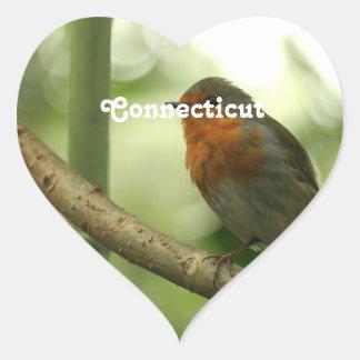Connecticut Robin Heart Sticker