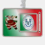 Connecticut Santa Claus Christmas Ornament Silver Plated Framed Ornament