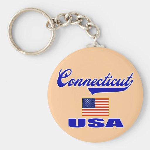 Connecticut Script Basic Round Button Keychain