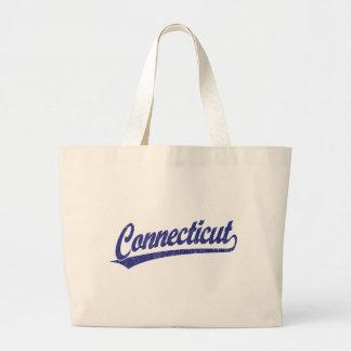 Connecticut script logo in blue tote bags