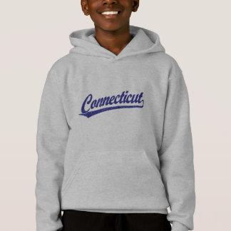 Connecticut script logo in blue hoodie