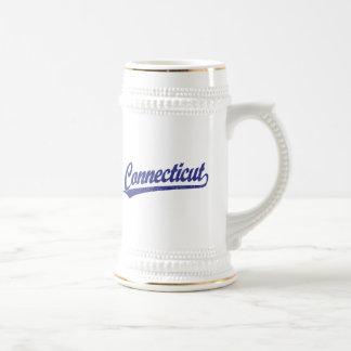 Connecticut script logo in blue mugs