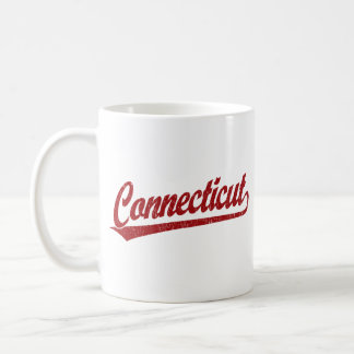 Connecticut script logo in red coffee mug