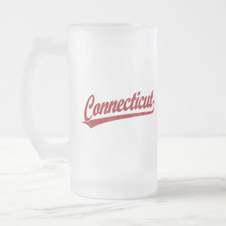Connecticut script logo in red frosted glass beer mug