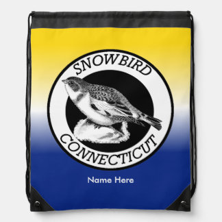 Connecticut Snowbird Shield Drawstring Bag