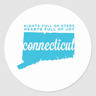connecticut | song lyrics | sky blue classic round sticker