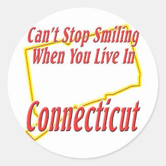 Connecticut - sonriendo etiquetas redondas