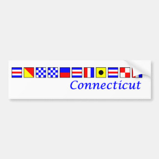 Connecticut spelled in nautical flag alphabet bumper sticker