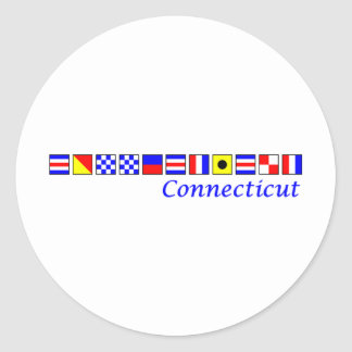 Connecticut spelled in nautical flag alphabet classic round sticker