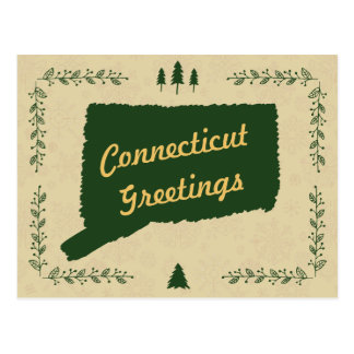 Connecticut State Christmas Holiday Greetings Postcard
