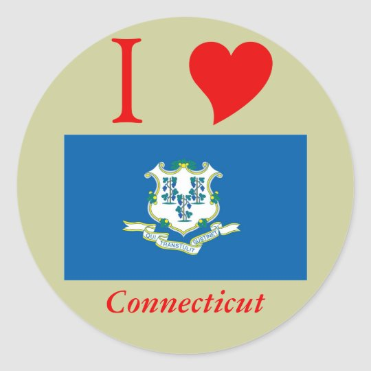 Connecticut State Flag Classic Round Sticker