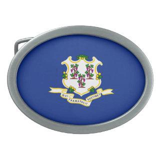 Connecticut State Flag Design Oval Belt Buckle