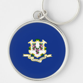 Connecticut State Flag Design Silver-Colored Round Keychain