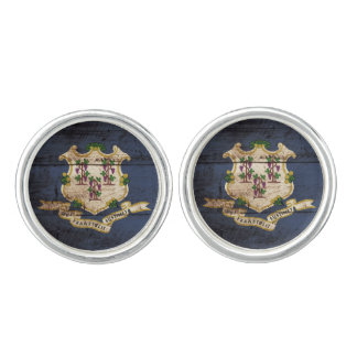 Connecticut State Flag on Old Wood Grain Cufflinks