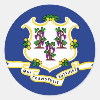 Connecticut State Flag Classic Round Sticker