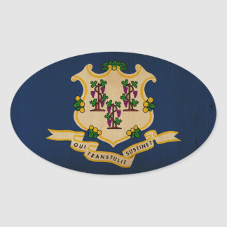 Connecticut State Flag VINTAGE png Oval Sticker