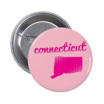 Connecticut state in pink pinback button
