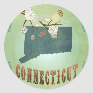 Connecticut State Map – Green Classic Round Sticker