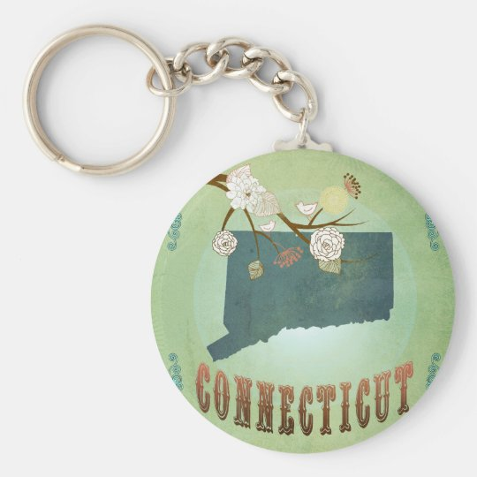 Connecticut State Map – Green Keychain