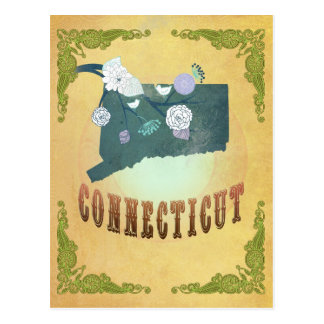Connecticut State Map- Passion Fruit Yellow Postcard