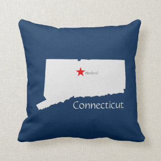 Connecticut State Map with Capitol Star Throw Pillow