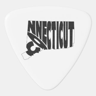 Connecticut State Name Word Art Black Guitar Pick