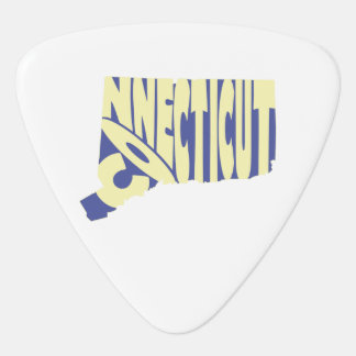 Connecticut State Name Word Art Yellow Guitar Pick