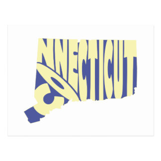 Connecticut State Name Word Art Yellow Postcard