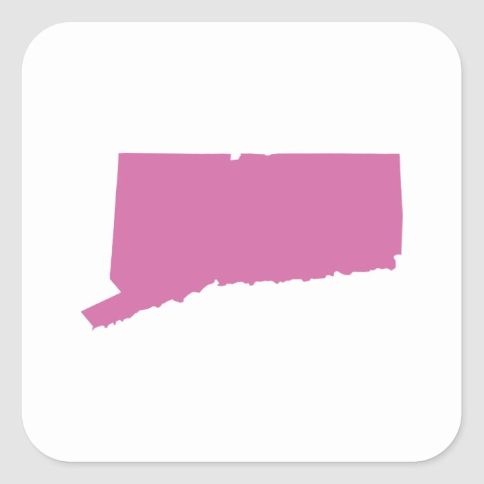 Connecticut State Outline Square Sticker