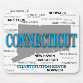 Connecticut State Pride Map Silhouette Mouse Pad