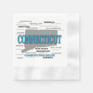 Connecticut State Pride Map Silhouette Napkin