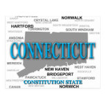 Connecticut State Pride Map Silhouette Postcards