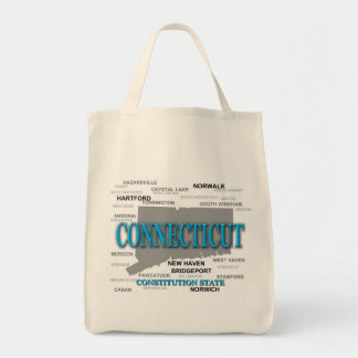 Connecticut State Pride Map Silhouette Tote Bag