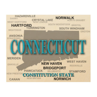 Connecticut State Pride Map Silhouette Wood Wall Art